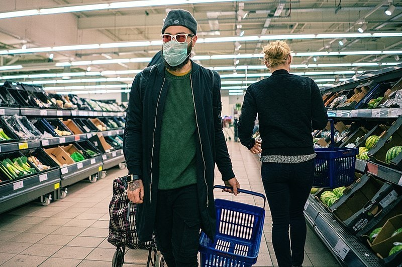grocery store customers with masks. grocery shopping habits