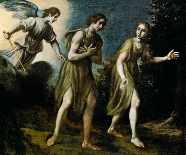 Adam and Eve expelled. The fall of man