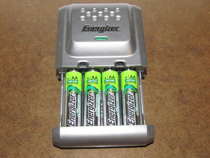 Rechargeable batteries in charger