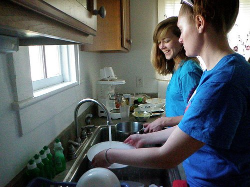 hand-washing dishes. food sustainability