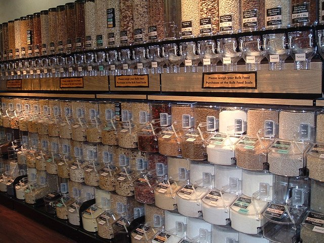 Bulk products wall. help the environment