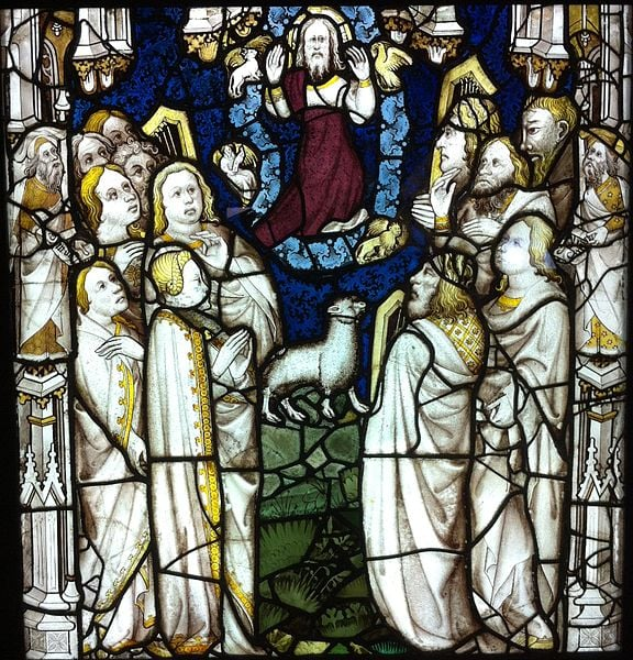 Stained glass window. Plagues of Revelation