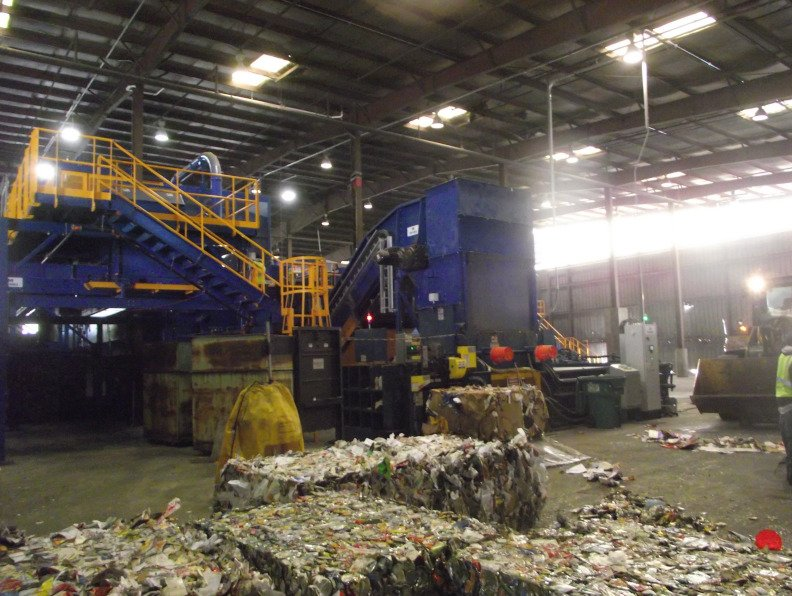 newly baled recyclables. recycling myths