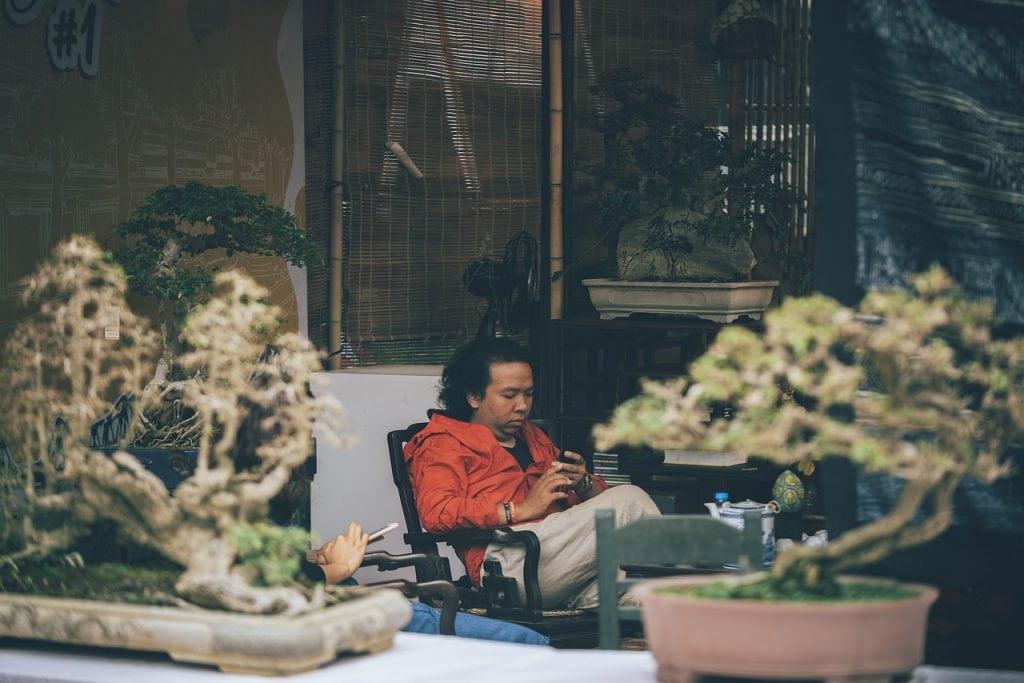 man relaxing in low-maintenance backyard