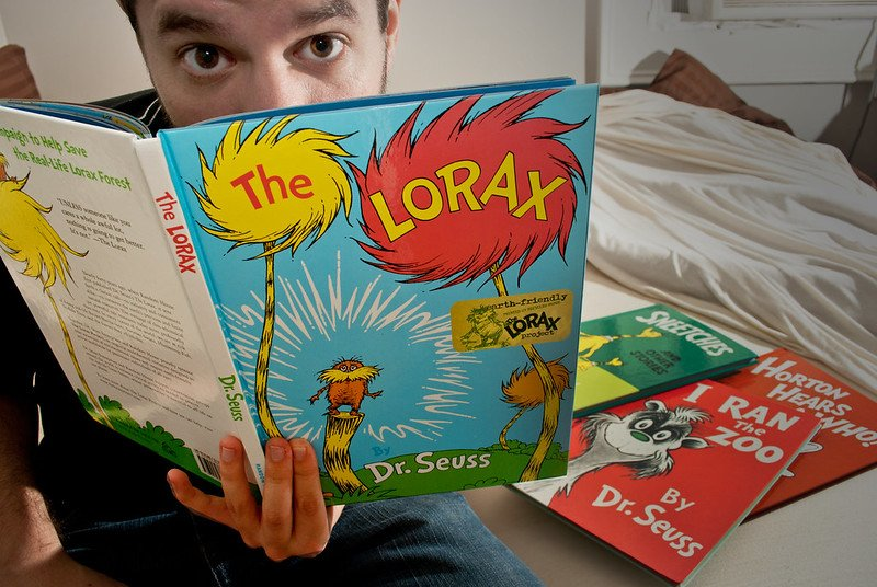 Someone reading The Lorax-- 50th anniversary