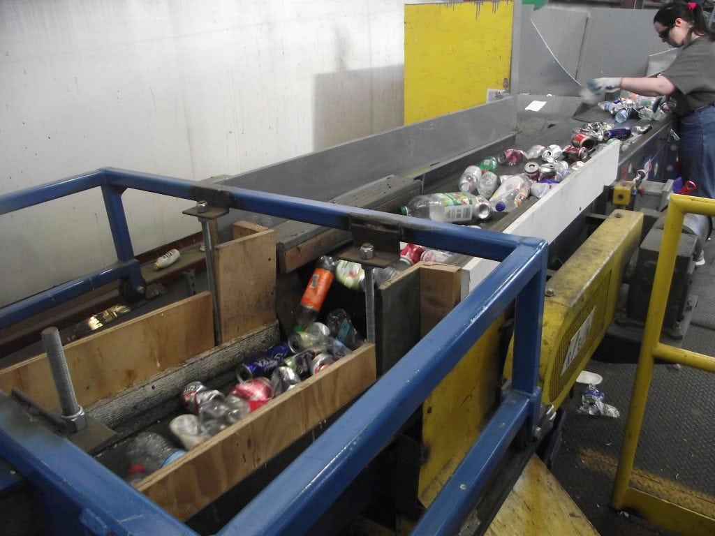 recycling sort line. recycling process
