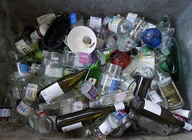 Glass bottles and jars. Aspirational recycling