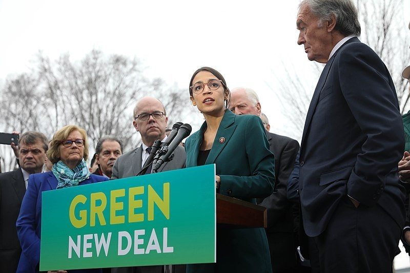 Alexandra Ocasio-Cortez announcing Green New Deal. Communicating sustainability