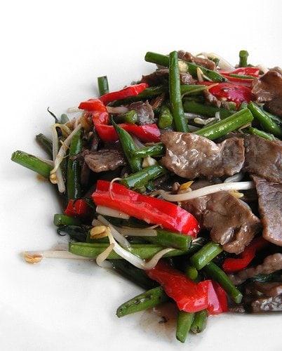Beef stir fry. sustainable food
