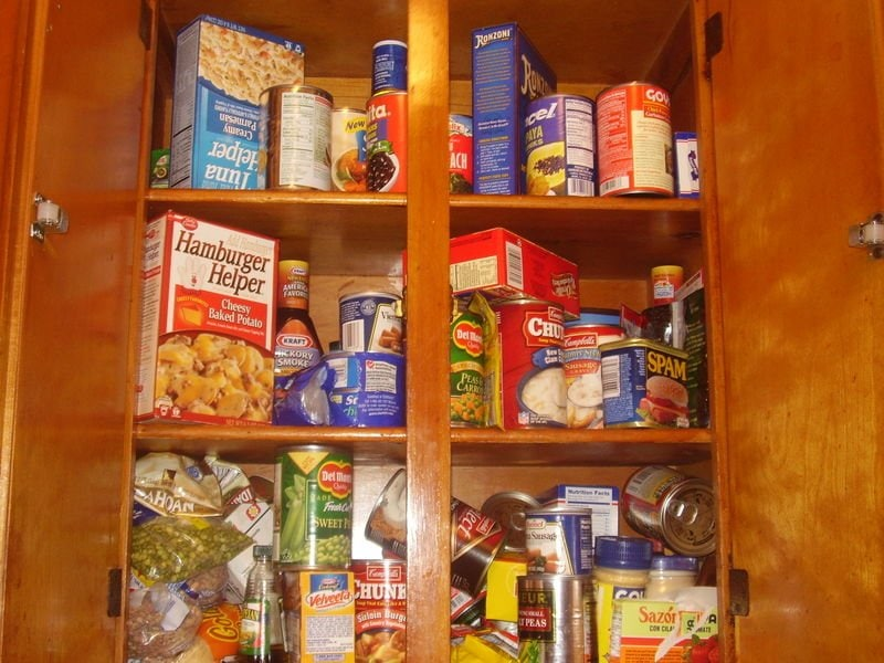 Convenience food in a pantry